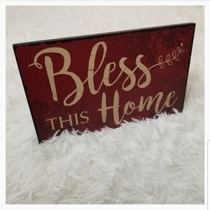 💡 Bless This Home Red Stand Wall Art Home De…